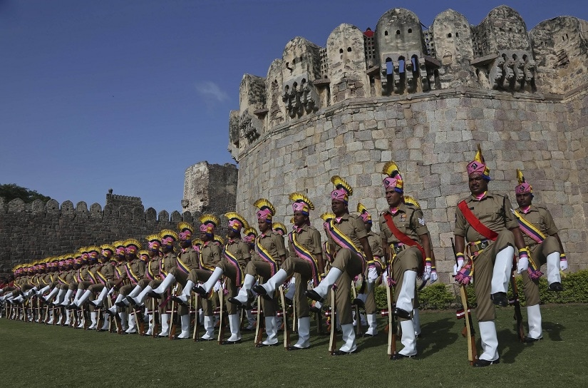 Indian policemen participate in the final rehearsal for the Independence Day celebrations at the Golconda Fort in Hyderabad, India, Wednesday, Aug.13, 2014. India commemorates its Independence in 1947 from British colonial rule, on August 15.(Mahesh Kumar A.)