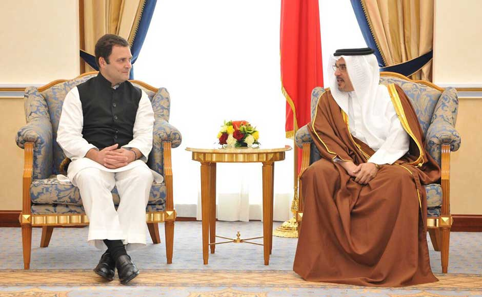 Rahul Gandhi on Monday embarked on a visit to Bahrain — his first foreign trip after becoming the Congress chief — where he addressed a convention of NRIs and will meet the Gulf country's Prime Minister Prince Salman bin Hamas Al-Khalifa. Rahul in a meeting with Prince Salman bin Hamas Al-Khalifa. Twitter@OfficeOfRG