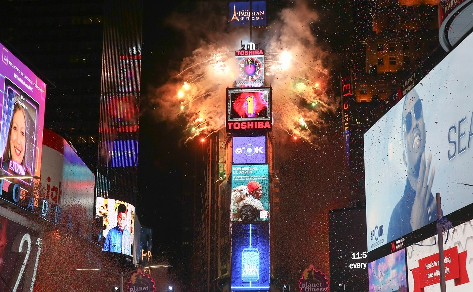 The ball drops during the New Year's Eve celebration in Times Square on Sunday, 31 December, 2017, in New York. AP/Brent N Clarke