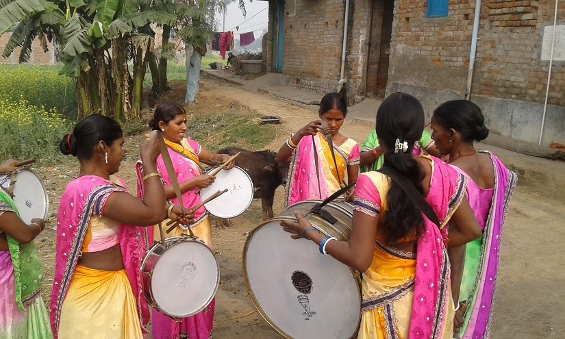 Some of the women of the Sargam Mahila Band, at a practise session. Photos courtesy the writer
