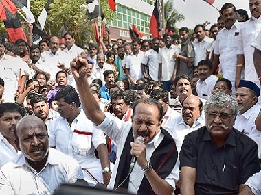 MDMK General Secretary Vaiko, VCK Leader Thol Thirumavalavan and others stage a road  blockade agitation demanding a total withdrawal of recent bus fare hike in Chennai on Monday. PTI