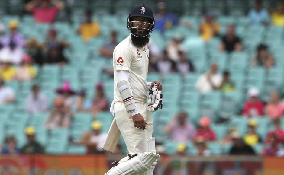Moeen Ali's troublesome tour ended when he was trapped LBW by Australia's Nathan Lyon. AP