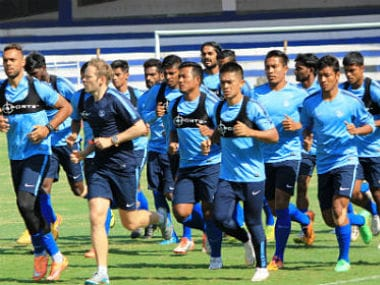 File image of Indian football team in training. Image courtesy: Twitter @Indianfootball