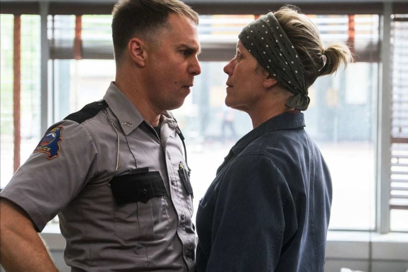 Sam Rockwell (L) and Frances McDormand in a still from Three Billboards Outside Ebbing, Missouri. Image: Merrick Morton/Fox Searchlight Pictures