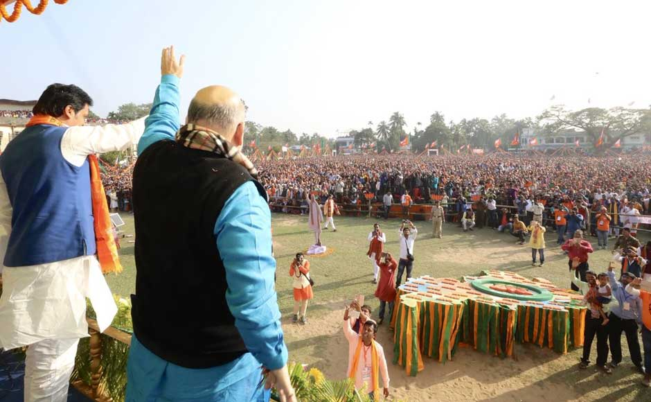 Shah claimed that in a small state like Tripura, which has a population of a little over 36 lakh, seven lakh youths were unemployed.