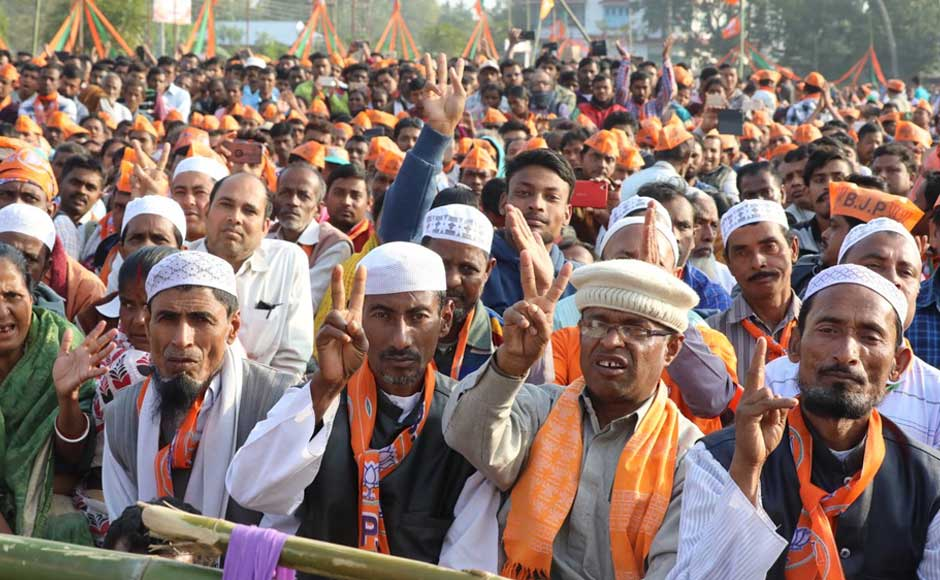 The BJP chief added that unless the Left Front government was changed in the northeastern state, it would be reduced to a backward state in terms of protection of women, unemployment and economic development of the poor and the working class. Supporters wave during a rally in Udaipur.Twitter@AmitShah