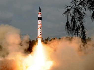 The indigenously developed Agni-5 missile taking off. Image courtesy: Twitter/@ppchaudharyMoS