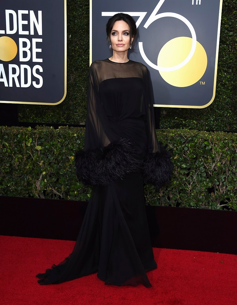 Angelina Jolie at the 75th Golden Globe Awards. Image from AP.