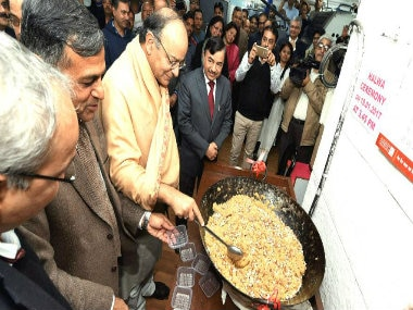 Union Finance Minister Arun Jaitley and other officials at the halwa ceremony. PTI