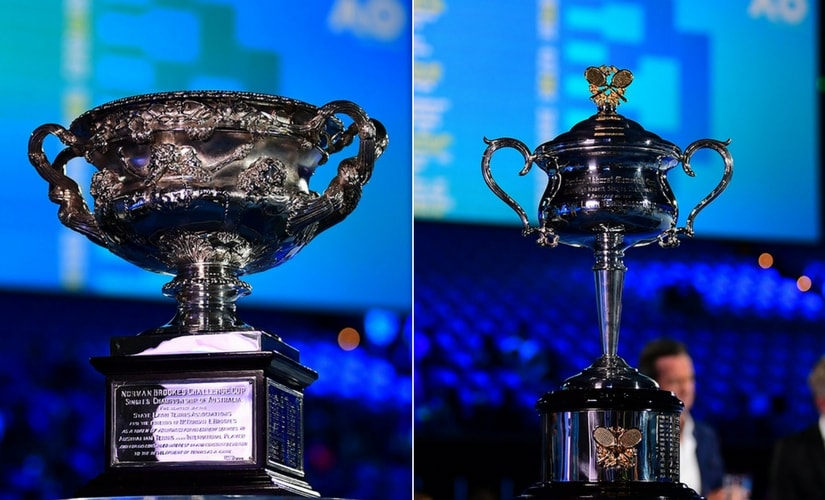 Australian Open men's singles trophy, the Norman Brookes Challenge Cup, and the women's singles trophy, the Daphne Akhurst Memorial Cup, ahead of the 2018 draw. Images courtesy: ausopen.com
