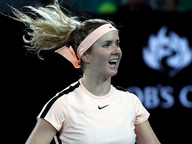 Ukraine's Elina Svitolina celebrates after defeating Denisa Allertova of the Czech Republic during their fourth round match at the Australian Open tennis championships in Melbourne, Australia Monday, Jan. 22, 2018. (AP Photo/Ng Han Guan)