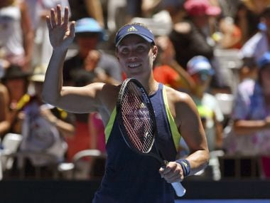 Angelique Kerber celebrates after defeating Anna-Lena Friedsam during their first round. AP