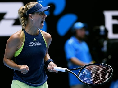 Germany's Angelique Kerber celebrates a point win over United States' Madison Keys during their quarterfinal at the Australian Open tennis championships in Melbourne, Australia, Wednesday, Jan. 24, 2018. (AP Photo/Andy Brownbill)