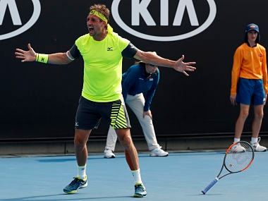 United States' Tennys Sandgren celebrates after defeating Germany's Maximilian Marterer during their third round match at the Australian Open tennis championships in Melbourne, Australia, Saturday, Jan. 20, 2018. (AP Photo/Ng Han Guan)