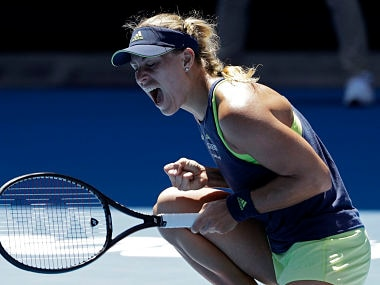 Germany's Angelique Kerber yells while playing Taiwan's Hsieh Su-wei during their fourth round match at the Australian Open tennis championships in Melbourne, Australia, Monday, Jan. 22, 2018. (AP Photo/Dita Alangkara)