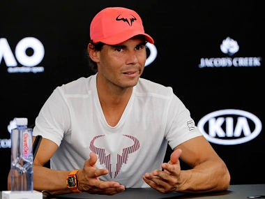 Spain's Rafael Nadal answers questions during a press conference at the Australian Open tennis championships in Melbourne, Australia, Saturday, Jan. 13, 2018. (AP Photo/Vincent Thian)