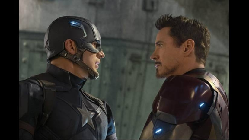 Chris Evans as Captain America (left); Robert Downey Jr as Iron Man (right). Facebook/ Chris Evans Online
