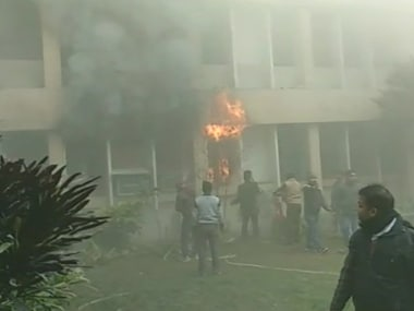 Fire breaks out at Gorakhpur's BRD Medical College. Twitter @ANI