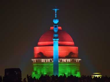 A view of the illuminated Raisina Hills after the Beating Retreat ceremony at Vijay Chowk in New Delhi. PTI