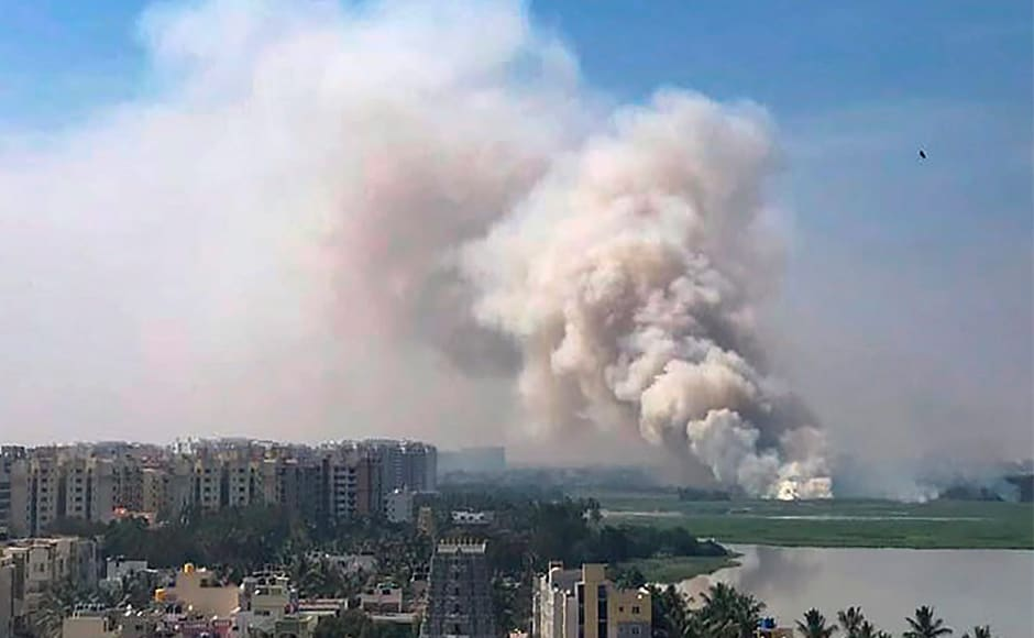 A huge fire emanated from the highly polluted Bellandur lake, the biggest water body in Bengaluru, on Friday giving anxious moments to hundreds of residents living nearby. PTI