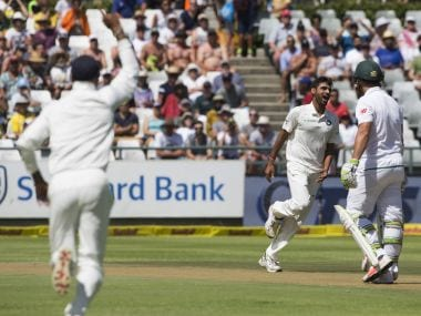 Indian fast bowler Bhuvneshwar Kumar took four wickets on Day one of the first Test against South Africa. AP