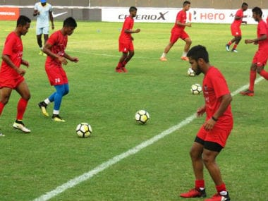 Churchill Brothers players involved in a training session. Image Courtesy Twitter @ILeagueOfficial