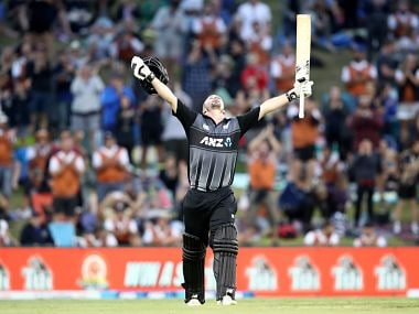 Colin Munra celebrates after scoring his third T20I century. Image courtesy: Twitter @ICC