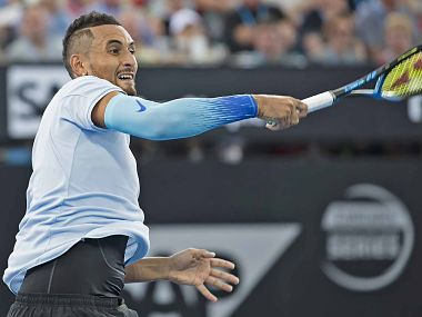 Nick Kyrgios in action against Matthew Ebden. Image courtesy: Twitter @ATPWorldTour