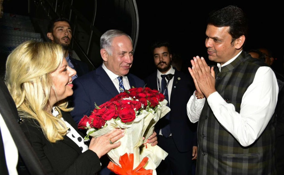Netanyahu was received at the airport by Maharashtra chief minister Devendra Fadnavis and senior officials on Wednesday night. Twitter @CMOMaharashtra