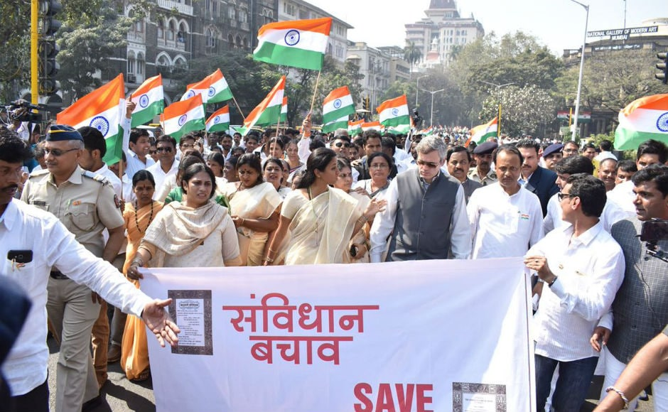 Mumbai sees parallel R-Day events: Opposition holds 'Save Constitution' march, BJP counters it with Tiranga Yatra
