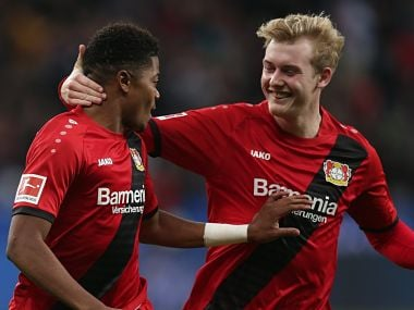 Leon Bailey celebrates his goal with teammate Julian Brandt. Image courtesy: Twitter @bayer04_en