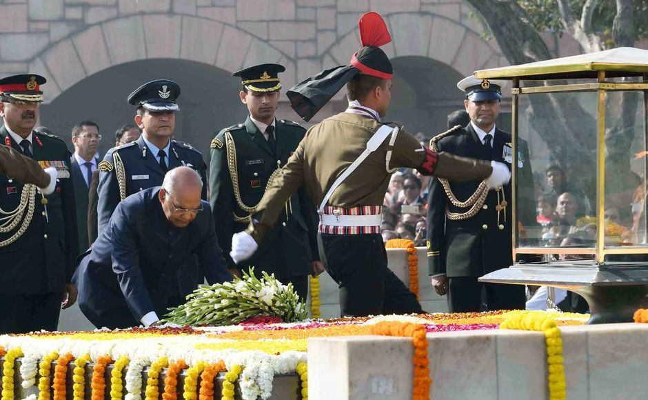 """Kovind laid the wreath at Mahatma Gandhi's samadhi at Rajghat. The president remembering Mahatma Gandhi said, """"We gratefully remember Mahatma Gandhi and the countless freedom fighters who sacrificed their all for our independence."""" Image courtesy: Twitter/@rashtrapatibhvn"""
