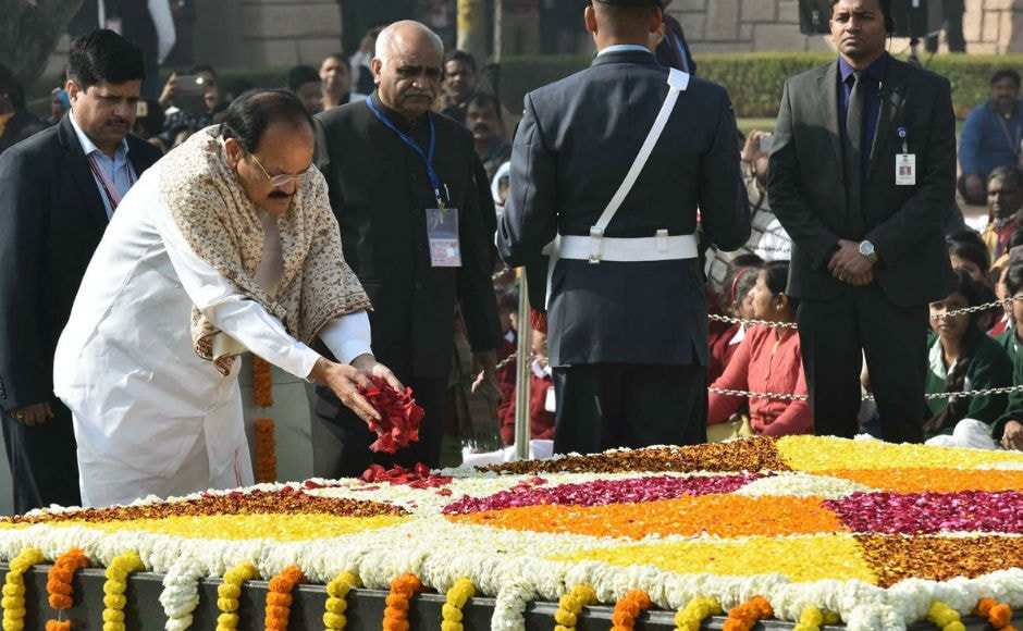 """Vice-President Venkaiah Naidu paid his tributes to the Mahatma Gandhi. In a Twitter post, Naidu said, """"He was a true apostle of peace and non-violence. His life and message must continue to inspire every Indian."""" Image courtesy: Twitter/PIBIndia"""