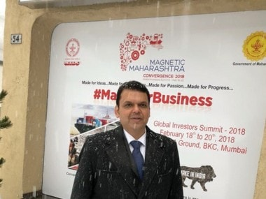 Maharashtra chief minister Devendra Fadnavis in Davos. Image courtesy- Twitter.