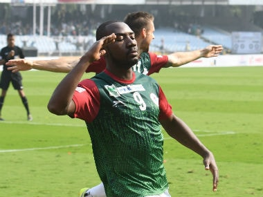 Mohun Bagan's Dicka celebrates after scoring against East Bengal. I-League