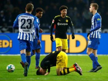 Borussia Dortmund's Jadon Sancho in action against Hertha Berlin. Reuters