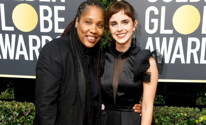 Emma Watson with Marai Larasi at the Golden Globes/Image from Twitter.