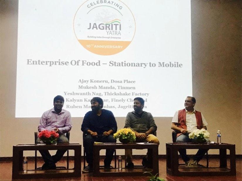 Entrepreneurs Ajay Koneru of Dosa Place, Mukesh Manda of Tinmen, Yeshwanth Nag of Thickshake Factory talked about hacking into urban India's food consumption patterns at Gitam University, Vishakapatnam. Firstpost/Pallavi Rebbapragada