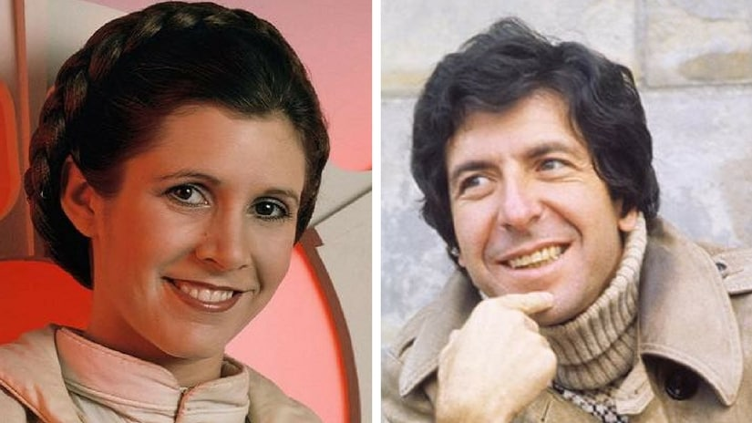 Carrie Fisher (left) and Leonard Cohen (right). Facebook
