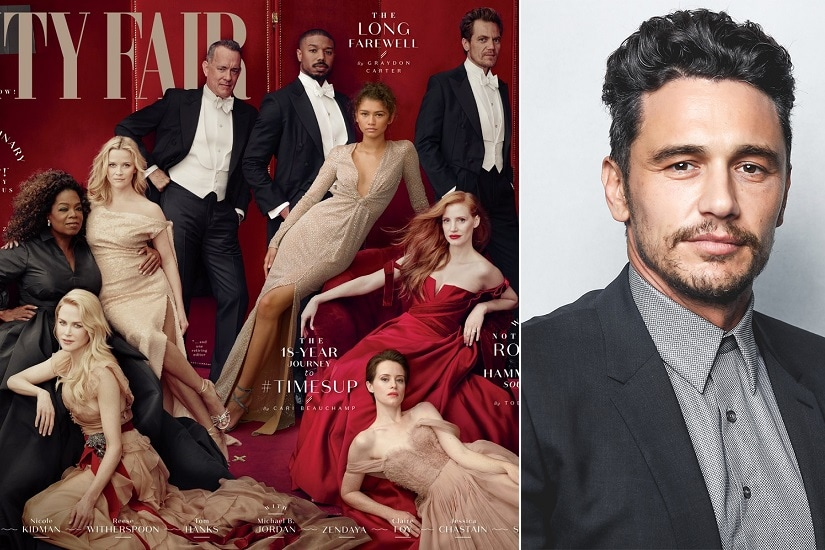 James Franco sat for the Vanity Fair photo shoot but was then digitally removed from the cover following the allegations. Image courtesy: Vanity Fair