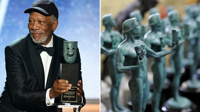Morgan Freeman accepting the SAG's Lifetime Achievement Award (left); SAG awards (right). Twitter/@twittermoments
