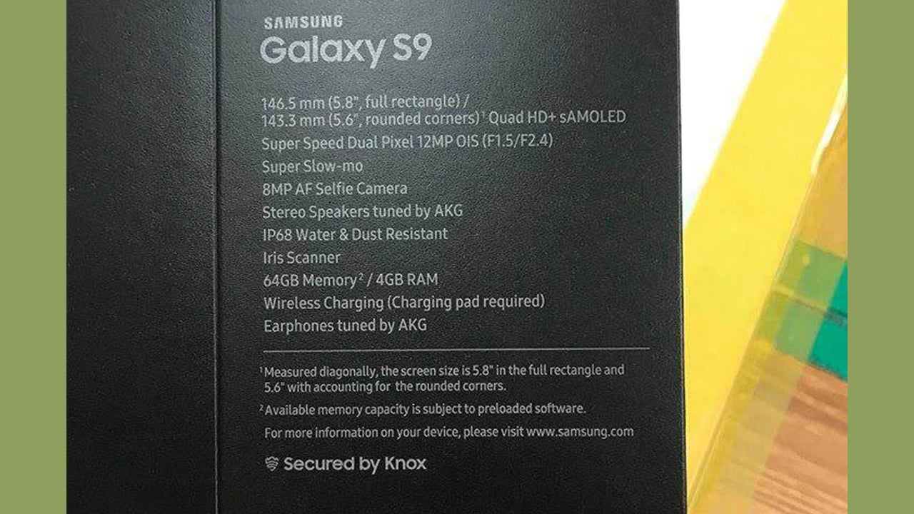 An alleged image of the Samsung Galaxy S9 box. Image: GizChina