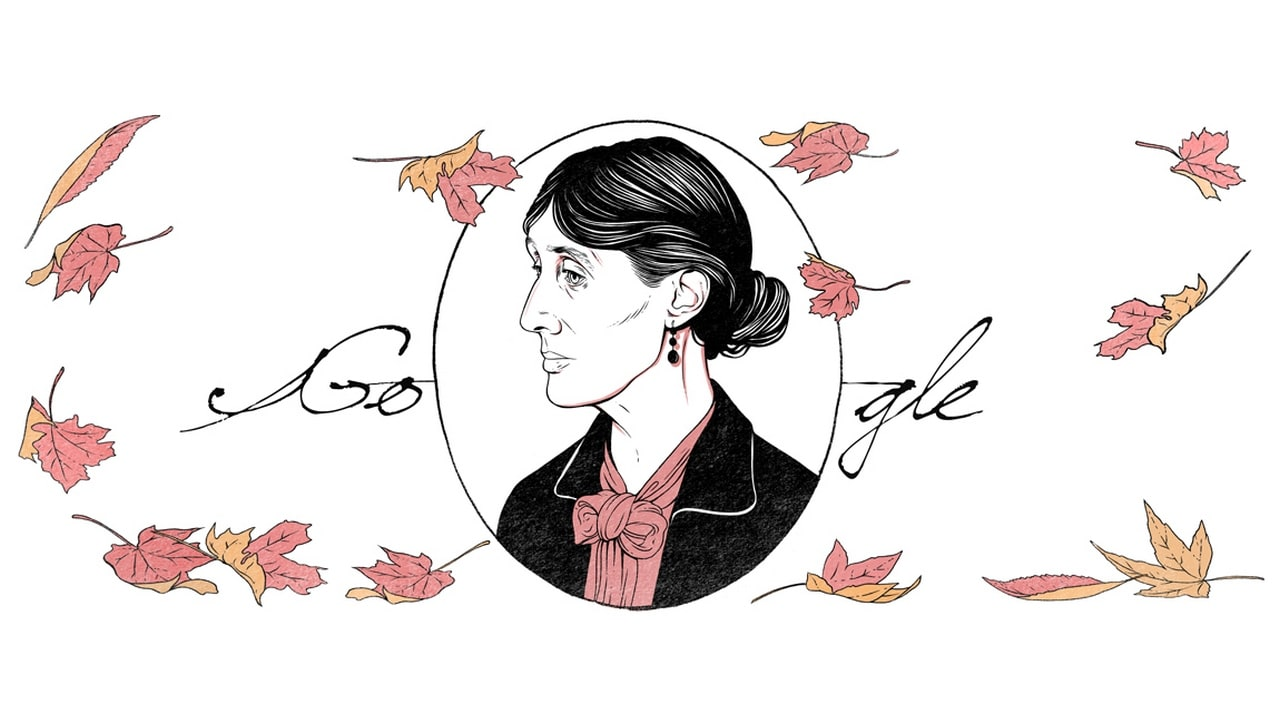 The Google Doodle celebrates Virginia Woolf's 136th birthday. Google
