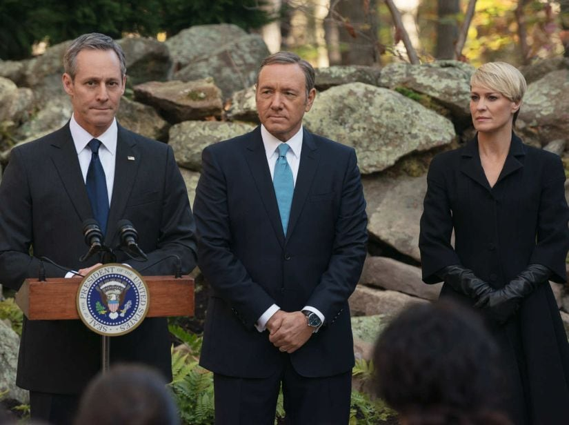 Michel Gill, Kevin Spacey and Robin Wright in House of Cards. Netflix