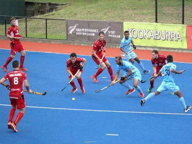 Indian hockey team in action against Belgium on Thursday. Image Courtesy: Twitter @TheHockeyIndia