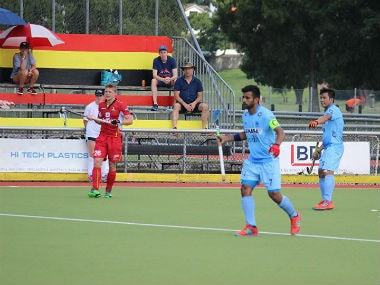 Indian hockey team in action against Belgium on Sunday. Image Courtesy: Twitter @TheHockeyIndia