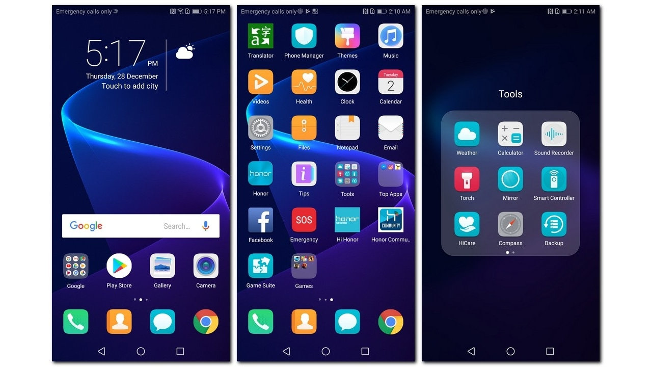 Honor View 10 Home screen and pre-installed apps