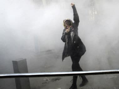 File image of a protester at the anti-government protest in Iran. AP