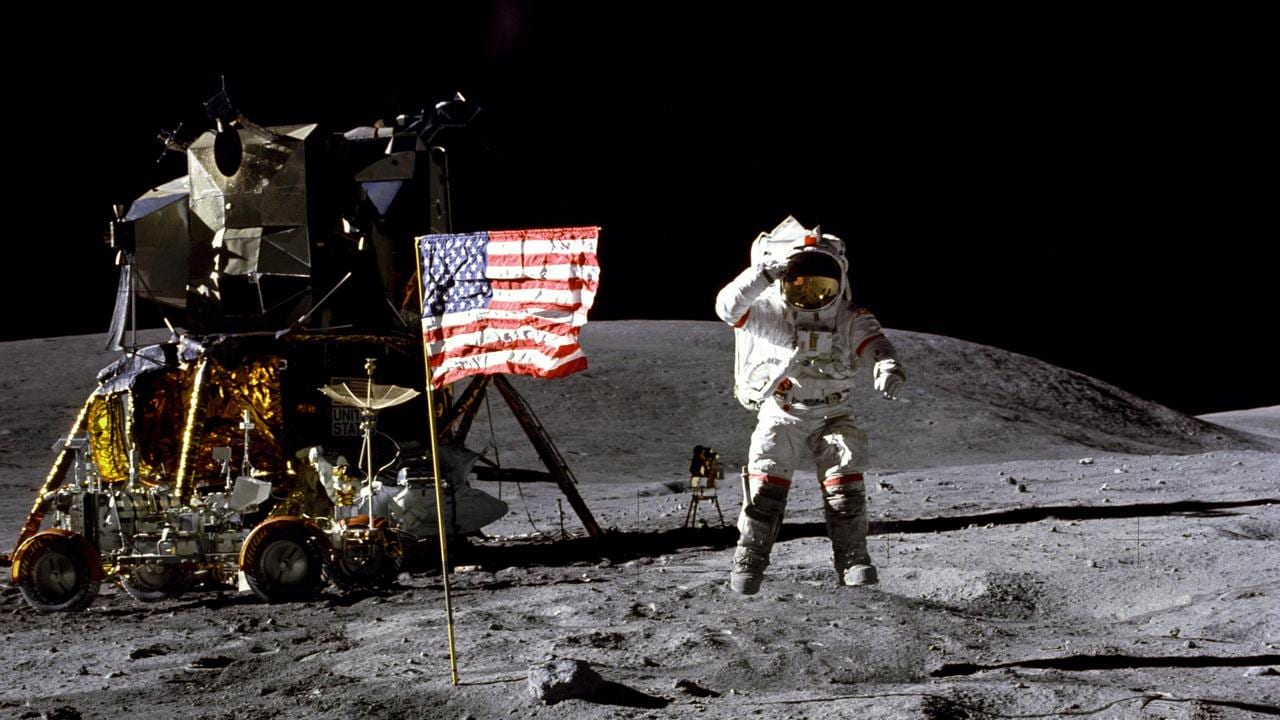John Young on Moon. NASA