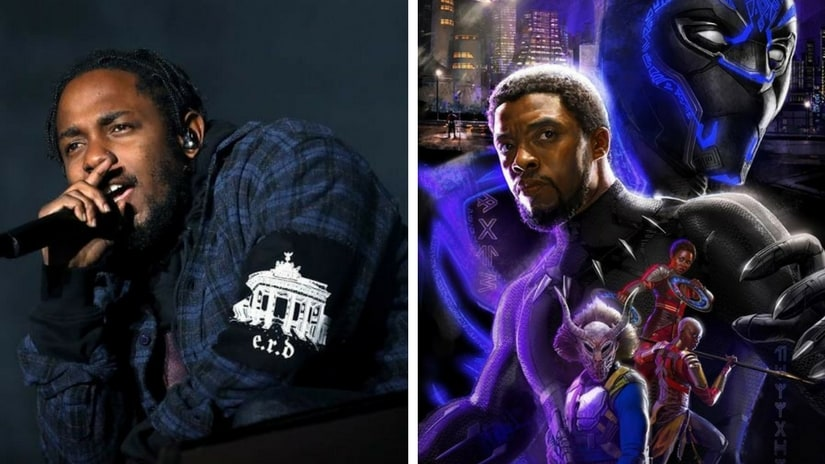 Kendrick Lamar (left); poster of Marvel's Black Panther (right). Facebook